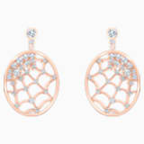 Precisely Drop Pierced Earrings, White, Rose-gold tone plated - Swarovski, 5488406