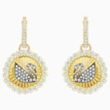 Vintage Swan Hoop Pierced Earrings, White, Gold-tone plated - Swarovski, 5489216