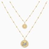 Vintage Swan 項鏈, 白色, 鍍金色色調 - Swarovski, 5489220