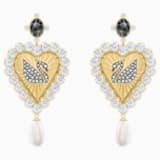 Vintage Swan Drop Pierced Earrings, Multi-colored, Gold-tone plated - Swarovski, 5489221