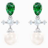 Pendientes de gota Perfection, verde, Baño de Rodio - Swarovski, 5489440