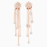 Penélope Cruz Moonsun Strand Pierced Earrings, Limited Edition, White, Rose-gold tone plated - Swarovski, 5489761