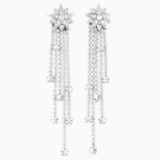 Penélope Cruz Moonsun Strand Pierced Earrings, Limited Edition, White, Rhodium plated - Swarovski, 5489763