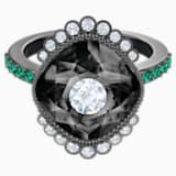 Black Baroque Motif Ring, Multi-colored, Ruthenium plated - Swarovski, 5490976