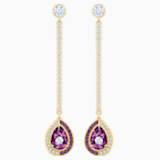 Black Baroque Drop Pierced Earrings, Purple, Gold-tone plated - Swarovski, 5490983
