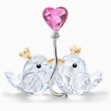 Szerelmes madárpár, rózsaszín szív - Swarovski, 5492226
