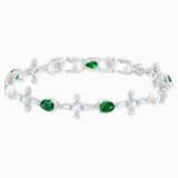Pulsera Perfection, verde, Baño de Rodio - Swarovski, 5493102