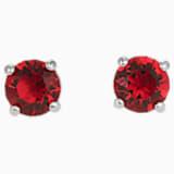 Attract Stud Pierced Earrings, Red, Rhodium plated - Swarovski, 5493979