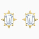 Tarot Magic Stud Pierced Earrings, White, Gold-tone plated - Swarovski, 5494019