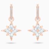 Argolas para orelhas furadas Swarovski Symbolic Star, brancas, banhadas com tom rosa dourado - Swarovski, 5494337