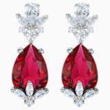 Boucles d'oreilles drop Louison, rouge, Métal rhodié - Swarovski, 5495078