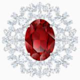 Louison Brooch, Red, Rhodium plated - Swarovski, 5495263