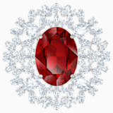 Louison Brooch, Red, Rhodium plated - Swarovski, 5495263