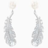 Nice Pierced Earrings, White, Rhodium plated - Swarovski, 5496052