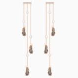Naughty Chandelier Pierced Earrings, Black, Rose-gold tone plated - Swarovski, 5497873