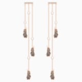 Naughty Chandelier Pierced Earrings, Black, Rose-gold tone plated - Swarovski, 5497873