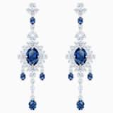Palace Chandelier Ohrringe, blau, Rhodiniert - Swarovski, 5498817