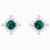 Palace Stud Pierced Earrings, Green, Rhodium plated - Swarovski, 5498837
