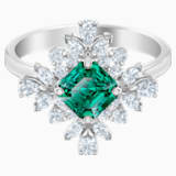 Palace Motif Ring, Green, Rhodium plated - Swarovski, 5498838