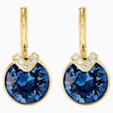 Bella V Pierced Earrings, Blue, Gold-tone plated - Swarovski, 5498875