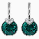 Bella V Pierced Earrings, Green, Rhodium plated - Swarovski, 5498876