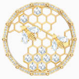 Bee A Queen Brooch, White, Gold-tone plated - Swarovski, 5501079