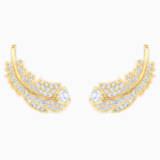 Τρυπητά σκουλαρίκια καρφιά Nice, λευκά, επιχρυσωμένα σε χρυσή απόχρωση - Swarovski, 5505623