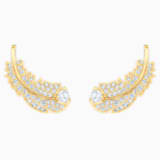 Nice Stud Pierced Earrings, White, Gold-tone plated - Swarovski, 5505623