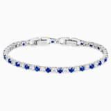 Tennis Deluxe 手链, 浅蓝色, 镀铑 - Swarovski, 5506253