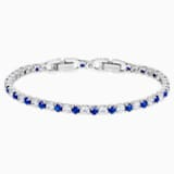 Tennis Deluxe Bracelet, Light Blue, Rhodium plated - Swarovski, 5506253