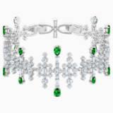 Pulsera Perfection, verde, Baño de Rodio - Swarovski, 5507695