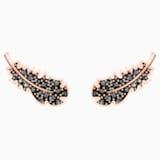 Τρυπητά σκουλαρίκια Naughty, μαύρα, επιχρυσωμένα σε χρυσή ροζ απόχρωση - Swarovski, 5509722