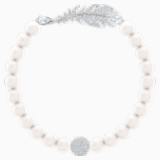 Nice gyöngy karperec, fehér, ródium bevonattal - Swarovski, 5509723