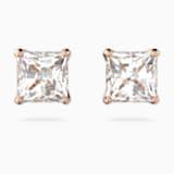 Kolczyki sztyftowe Attract, białe, w odcieniu różowego złota - Swarovski, 5509935
