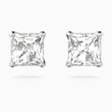 Attract Pierced Earrings, White, Rhodium plated - Swarovski, 5509936