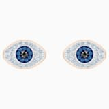 Boucles d'oreilles clous Swarovski Symbolic, bleu, Métal doré rose - Swarovski, 5510067