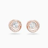 Generation Stud Pierced Earrings, White, Rose-gold tone plated - Swarovski, 5511012