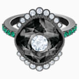 Black Baroque Motif Ring, Multi-colored, Ruthenium plated - Swarovski, 5511388