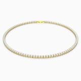 Κολιέ Tennis Deluxe, λευκό, επιχρυσωμένο σε χρυσή απόχρωση - Swarovski, 5511545