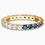 Vittore Half XL Кольцо, Синий Кристалл, Покрытие оттенка золота - Swarovski, 5511562