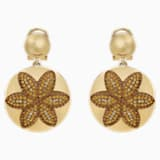 Evil Eye Disk Pierced Earrings, Small, Brown, Gold-tone plated - Swarovski, 5511781