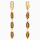Evil Eye Drop Pierced Earrings, Long, Brown, Gold-tone plated - Swarovski, 5511785
