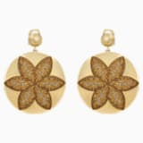 Evil Eye Disk Pierced Earrings, Large, Brown, Gold-tone plated - Swarovski, 5511787
