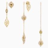 Graceful Bloom-multi druppeloorbellen, Bruin, Goudkleurige toplaag - Swarovski, 5511819