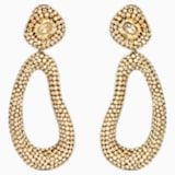 Tigris Drop Clip Earrings, Gold tone, Gold-tone plated - Swarovski, 5512348