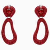Tigris Drop Clip Earrings, Red, Palladium plated - Swarovski, 5512355
