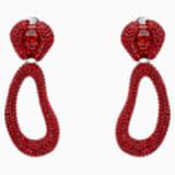 Boucles d'oreilles clip drop Tigris, rouge, Métal plaqué palladium - Swarovski, 5512355