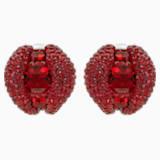 Peckové náušnice klipsy Tigris, červené, s palladiovým povrchem - Swarovski, 5512356