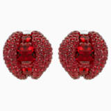 Tigris Stud Clip Earrings, Red, Palladium plated - Swarovski, 5512356