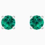 Attract Stud Pierced Earrings, Green, Rhodium plated - Swarovski, 5512384